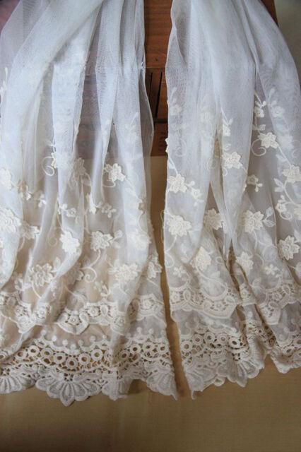 "Ivory Lace Fabric Crochet Embroidered Tulle Gauze Scalloped Edge 47.24""  1 Yard"