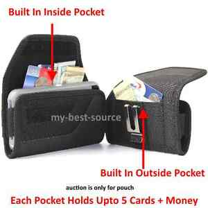 Pouch-Holster-Cover-w-2-Money-Pocket-Card-Metal-Belt-Clip-To-Fit-Lifeproof-Case