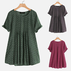 Women-Plus-Size-Printed-Floral-Top-Tee-T-Shirt-Pullover-Short-Sleeve-Blouse-HOT