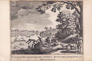 Sur De Soi ✒ Ca.1640 Michel Van Lochom Belle Gravure Vue Champêtre En Juillet été