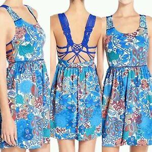 NWT-MAAJI-039-Azure-039-Macrame-Back-Dress-Cover-Up-M-Blue-M