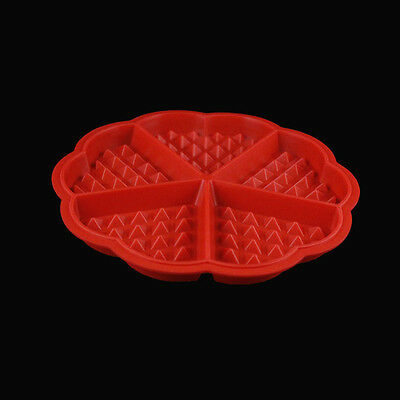 1x Red Silicone Cookie Mould Cake Pastry Baking Pan Pizza Pie Cooking Tray Sheet
