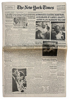 Apollo 11 Moon Landing ''New York Times'' Newspaper 1969