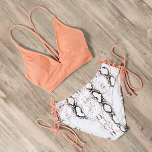 Damen-Gepolstert-Bikini-Set-Push-Up-Bandage-Bademode-Badeanzug-Schwimmanzug