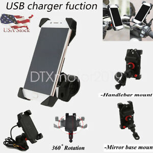 Motorcycle-Bike-ATV-Handlebar-Cell-Phone-Mount-Holder-w-USB-Charger-Fucntion-US