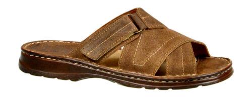 Mens Natural Leather Walking Sandals Sliders Memory Foam Size UK 6 7 8 9 10 11