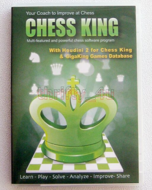 CHESS King With Houdini 2 GigaKing Database 1500 Training Puzzles 5 Mil  Games PC