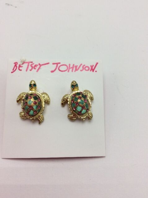 4950288380230 Betsey Johnson Turtle Crystals Green Eyes Stud Earrings 35