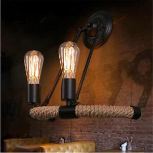 low priced 98638 ec17a Details about Nautical Metal Hemp Rope Wall Lamp Lighting Chandelier Rustic  2 Light Sconce