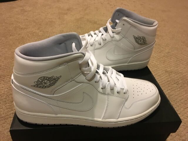 new concept eac4c 9dfc0 Air Jordan 1 Mid Men Lifestyle Casual SNEAKERS White Wolf Grey 13