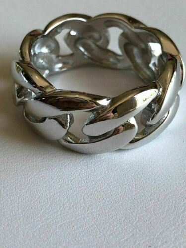 Men/'s Miami Cuban Link RING 14k Gold Rhodium Over 925 Silver Pinky Wedding Band