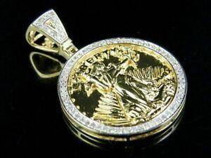 1-5-Ct-Round-Cut-D-VVS1-Diamond-14K-Yellow-Gold-Over-Lady-Liberty-Charm-Pendant