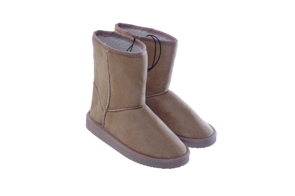 Womens Tan Khaki Flat Winter Microfiber Faux Fur Winter Boots  6 7 8 9 10 NEW