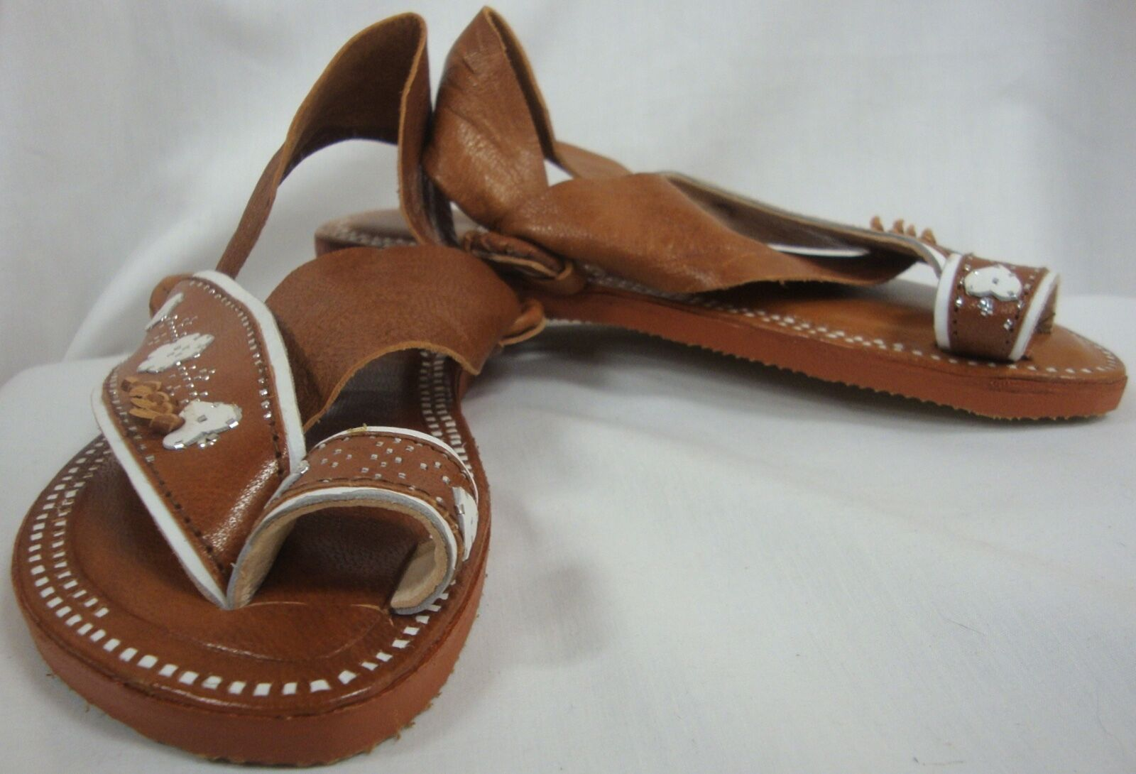 SHAMAK SANDALS UNIQUE BOUTIQUE STYLE BROWN LEATHER WITH WEISS TRIM SIZE 6 EUC