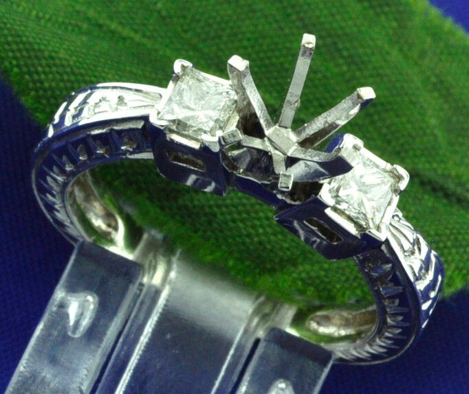 0.42ct 14k Solid White gold Ladies Semi Mount Diamond Ring setting made in USA