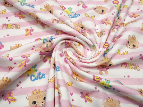 Stoff Baumwolle Jersey Streifen Bären Prinzessin Magic Cute rosa weiß Kinderstof