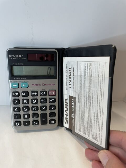Sharp Estimate EL-344G Solar Metric Converter Calculator with Cover Tested Clean