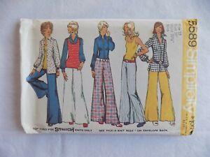 Vintage-Simplicity-5589-Shirt-Jacket-Top-Hip-Hugger-Wide-Leg-Pants-Size-12-Uncut