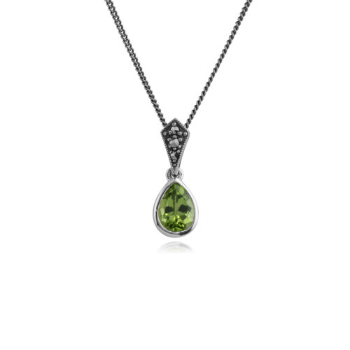 Gemondo Sterling Silver Peridot /& Marcasite Art Deco 45cm Necklace