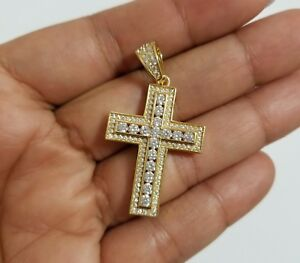 14k-Yellow-Gold-Over-Sterling-Silver-Cz-Cross-Charm-Pendant
