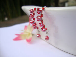 RED-Crystal-Silver-Marquise-Dangle-Earrings-Artisan-RED-Wire-HANDMADE