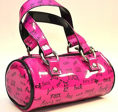 CYLINDER HOT PINK 'F' WORD COSMETIC PURSE  BY ADDICTED PUNK GOTH ROCKABILLY TEEN
