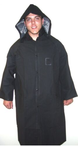 Full Long Rain Jacket with Hood 49 inches Long Sizes to 6XL Black