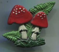 Allerliebst Trachten KÜHN Zinn Brosche rot Emaille Glückspilze Fliegenpilze Pilz