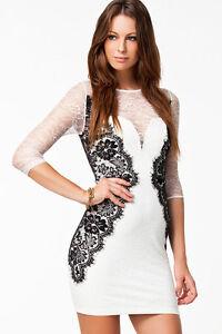 b952bc7620ff Detalles de Vestido blanco manga tres cuartos 2989 puntilla elegante ceñido  sexy chica joven