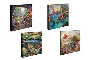 Thomas-Kinkade-Disney-Set-of-2-or-Set-of-4-14-x-14-Gallery-Wrapped-Canvases