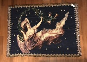 Manual-Woodworkers-Weavers-Tapestry-Throw-The-Gifted-Line-Angel-1994-Vintage-New