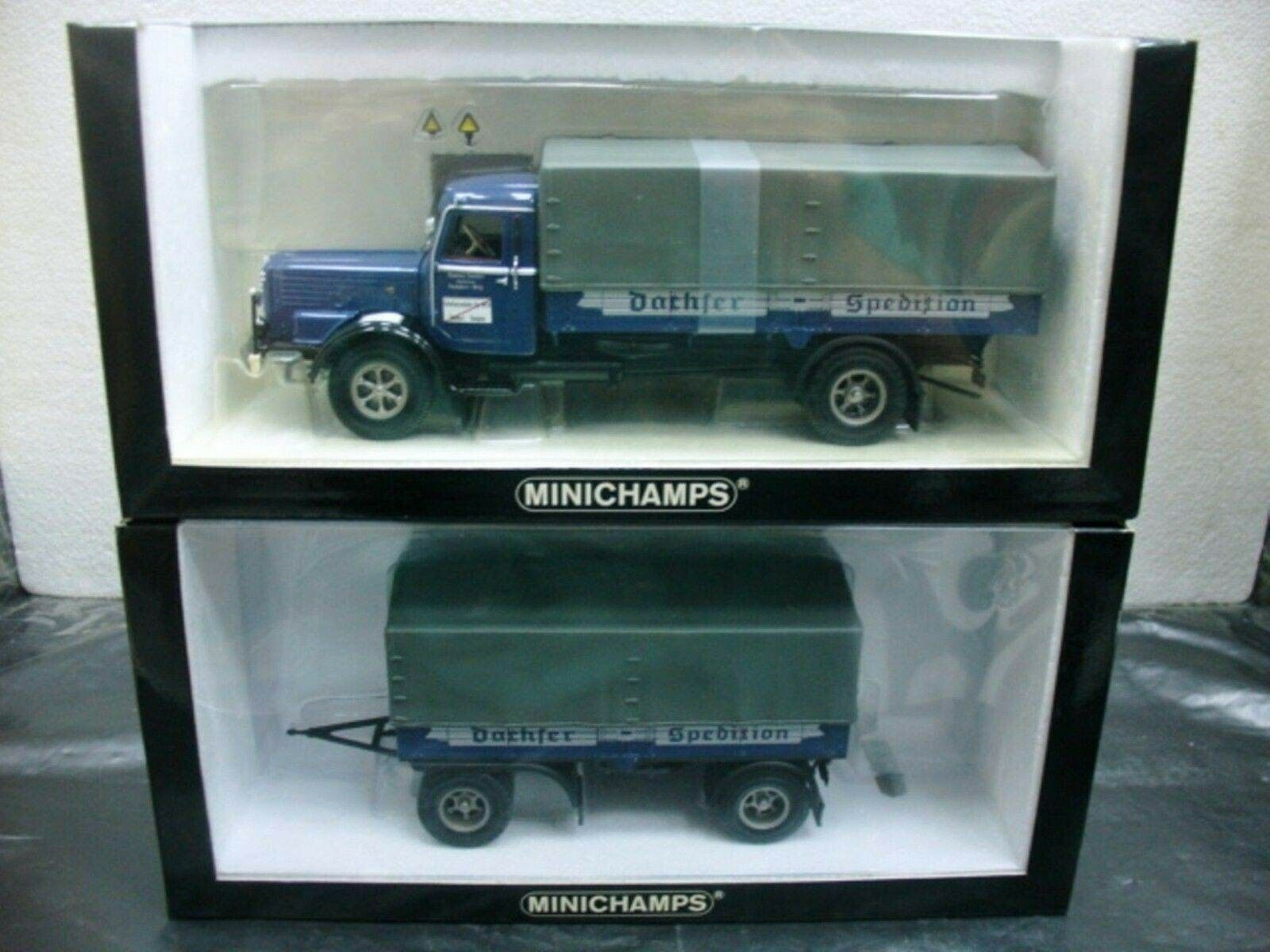 WOW EXTREMELY RARE Bussing Büssing 8000 S + Trailer Set Dachser 1 43 Minichamps