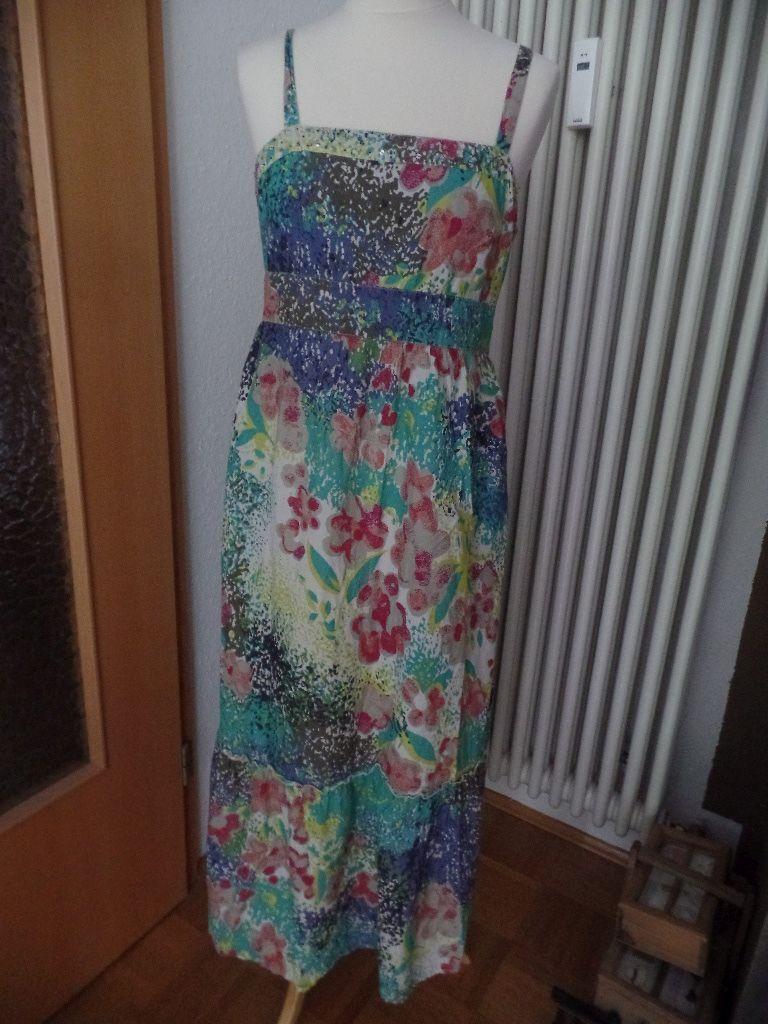 Debenhams Kleid Sommerkleid Maxikleid Hippie Festival weiß blau bunt 40 38 M L