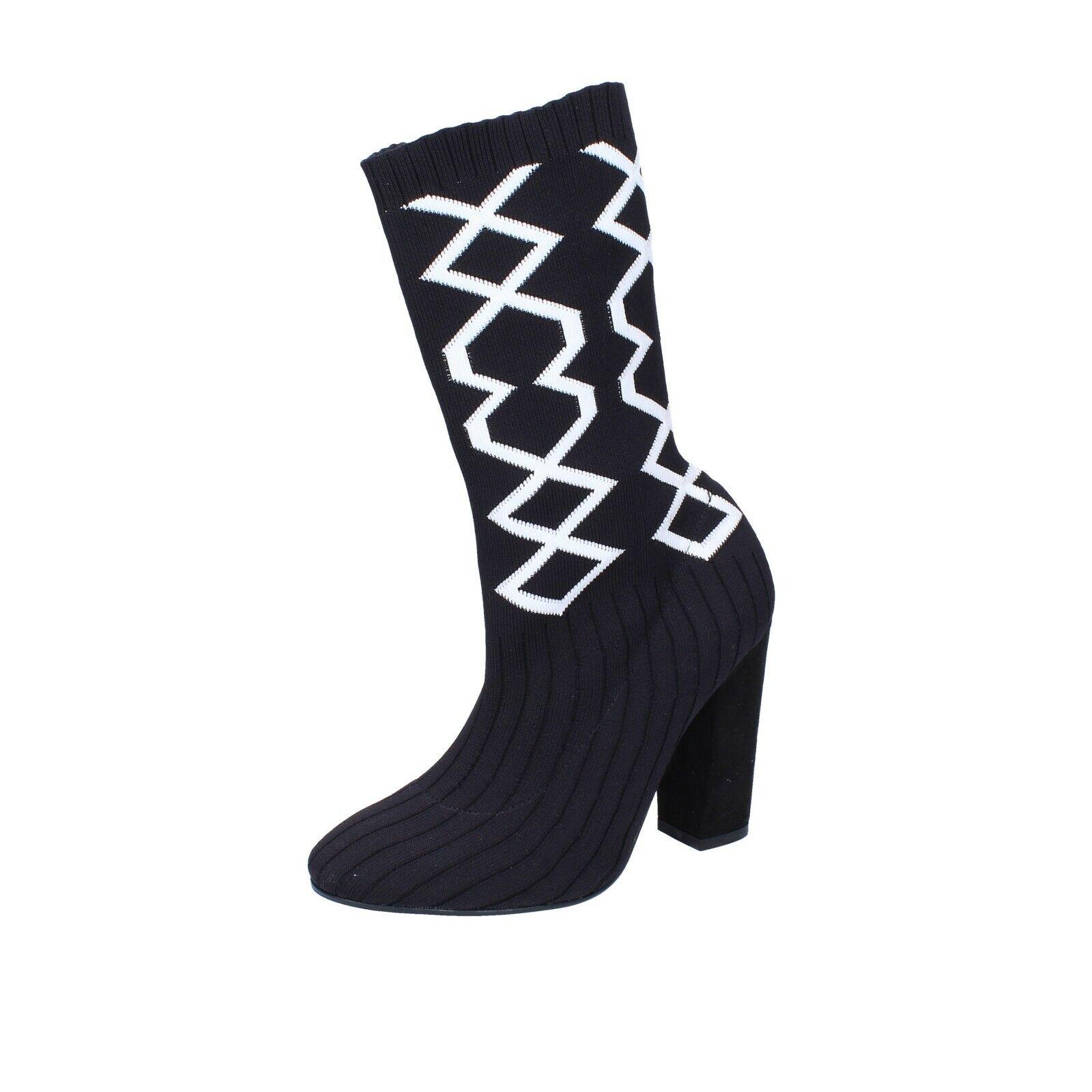 Chaussures femmes NACREE 39 UE Bottines noir blanc Textile br272-39