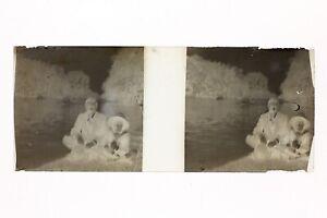 Francia Père E Figlio Foto Amateur Stereo L14n2 Placca Da Lente Vintage Negativo