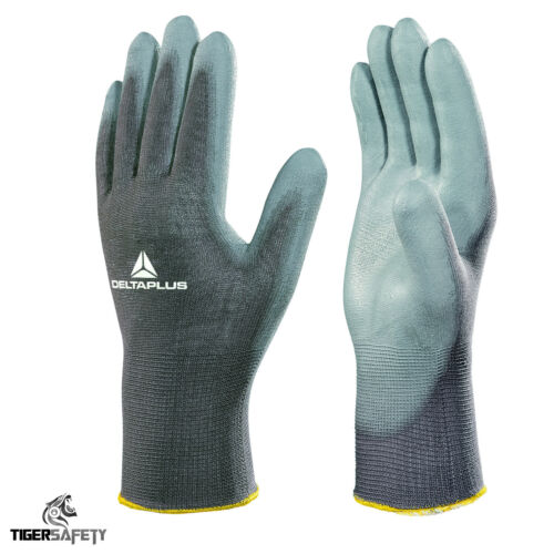 12 Pairs Delta Plus VE702 Polyester PU Coated Builders Mechanics Work Gloves PPE