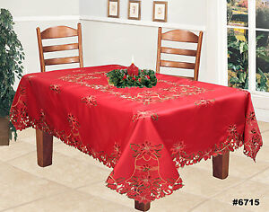 Christmas-Embroidered-Poinsettia-Bell-Tablecloth-amp-Napkins-RED-Holiday-6715