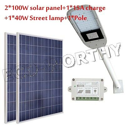 "40W Street Light System Kit +2*100W Solar PV Panel+40"" Arm for Path,Parking"