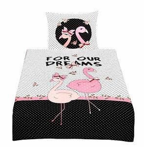 Flamingo Bettwäsche 135x200 Cm Schwarz Weiß Rosa Pink Rosen Dream
