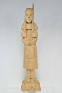 Vintage Folk Art Hand Carved Native Indian Female Figure Sculpture