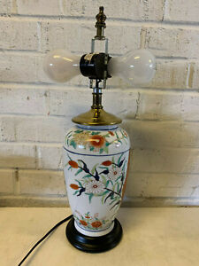 Vintage-Chinese-Painted-Porcelain-Vase-Converted-to-Lamp-Floral-Decoration