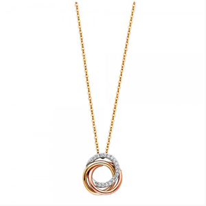 14k Solid Yellow White Rose Gold Cz 3 Rings Pendant Rolo Chain Necklace St Charm Ebay