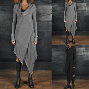 ZANZEA-Femme-Robe-Jupe-Manche-Longue-Asymetrique-Casuel-en-vrac-Simple-Ample