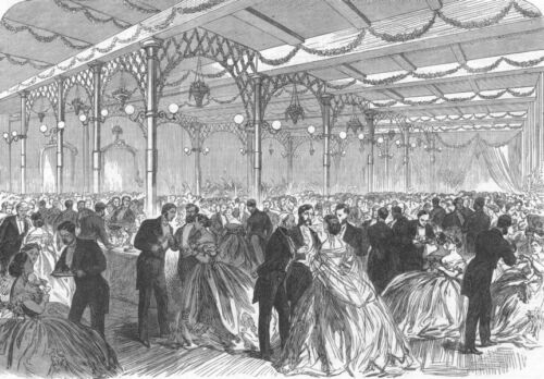 WARCS. Soiree in Birmingham Townhall, antique print, 1865