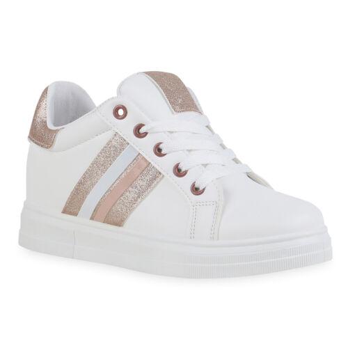 Damen Sneaker Wedges Schnürer Freizeit Keilabsatz Glitzer Schuhe 900045 Mode
