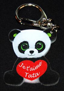 Porte Cles Panda Message Je T Aime Tata Bapteme Anniversaire Ebay