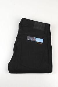 32841 Nudie Jeans Slim Jim Dry Black Coated Noir Hommes Jean Taille 31/32