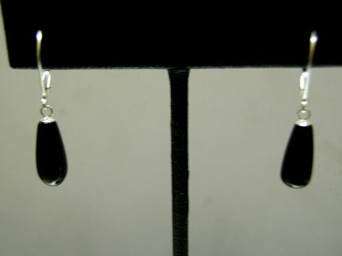 Vintage fatter pear shape teardrop black Onyx sterling silver leverback earrings