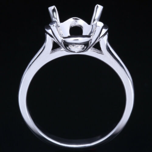 Sterling Silver Solitaire Semi-Mount Engagement Wedding Fine Ring Round 9-10mm