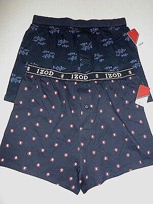 NWT 1 pr  Mens IZOD Cotton Boxer Sleep Underwear Shorts dz M  Navy Logo or Fish